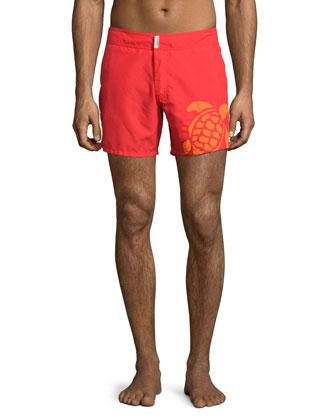 Meperfo Turtle Logo Swim Trunks, Red