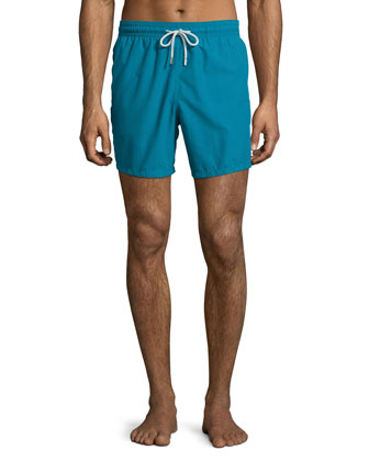Moorea Solid Swim Trunks, Blue