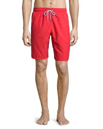 Okoa Solid Swim Trunks, Red