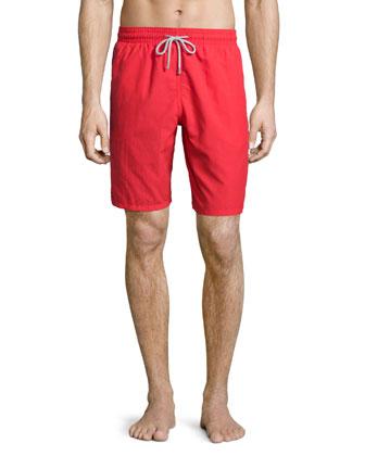 Okoa Solid Swim Trunks, Red