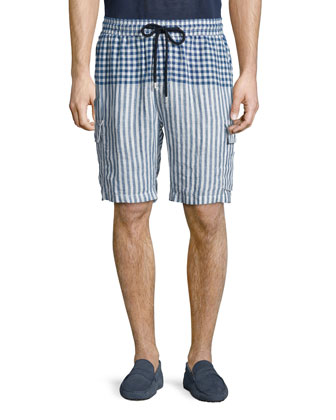 Striped Linen Cargo Shorts, Blue Pattern