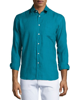 Solid Long-Sleeve Linen Shirt, Turquoise