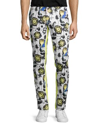 Palm Reflex Slim-Fit Trousers, Summer Yellow Multi