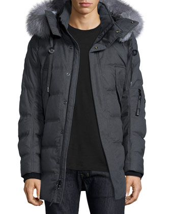 Puffer Parka with Removable Fur-Trimmed Hood, Charcoal