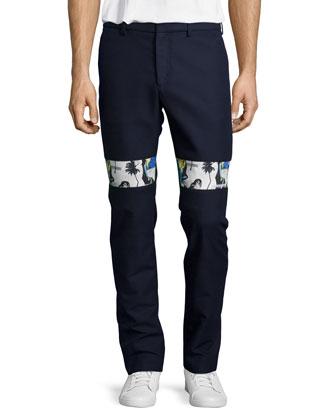 Slim-Fit Contrast-Band Pants, Eclipse Blue