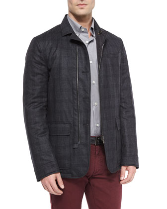Reversible Check Flannel Jacket, Gray