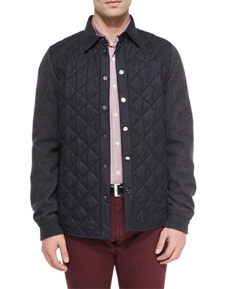 Quilted Flannel Button-Down Jacket, Contrast-Collar Plaid Woven Shirt & ...