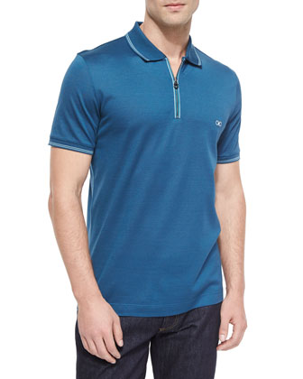 Solid Zip Polo Shirt, Medium Blue