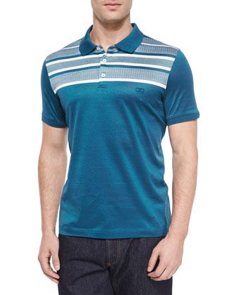Horizontal-Stripe Polo Shirt, Medium Blue