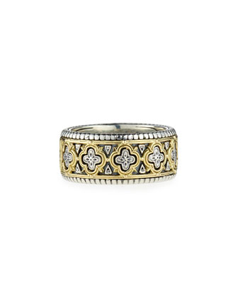 Classic Silver & 18k Clover Band Ring, Men's Size 10