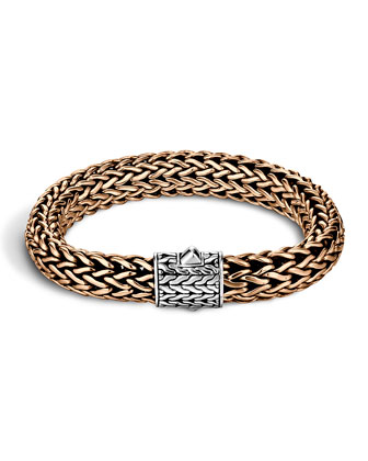 Men's Two-Tone Woven Chain Bracelet, Silver/Bronze