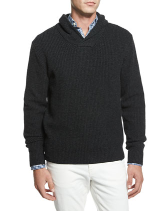 Shawl-Collar Ribbed Sweater, Charcoal