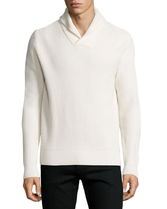 Shawl-Collar Cashmere-Blend Sweater, White
