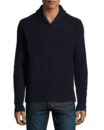 Shawl-Collar Cashmere-Blend Sweater, Navy