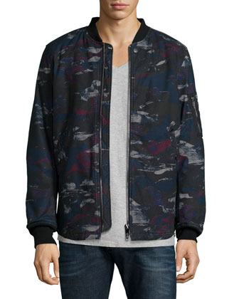 Dark Camo-Print Padded Jacket