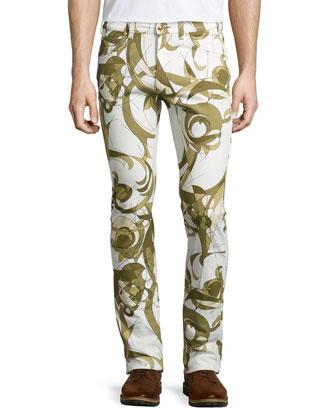 Scroll-Print Denim Pants, White