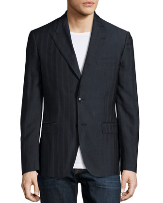 Two-Button Pinstripe Blazer, Navy