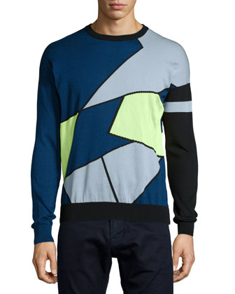 Crewneck Colorblock Sweater, Yellow/Blue