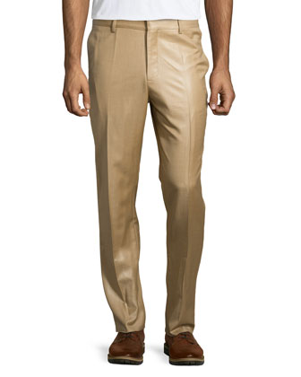 Straight-Leg Wool Trousers, Beige