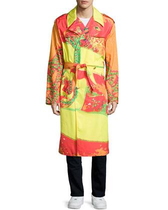 Long-Sleeve Printed Coat, Fuchsia/Orange