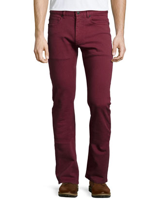 Straight-Leg Denim Jeans, Red
