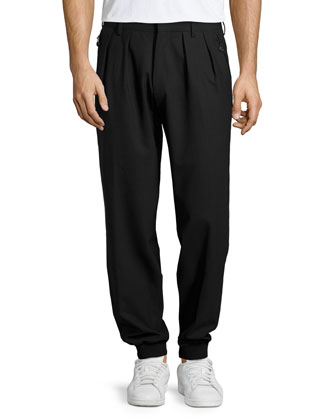 Pleated-Front Jogger Pants, Black