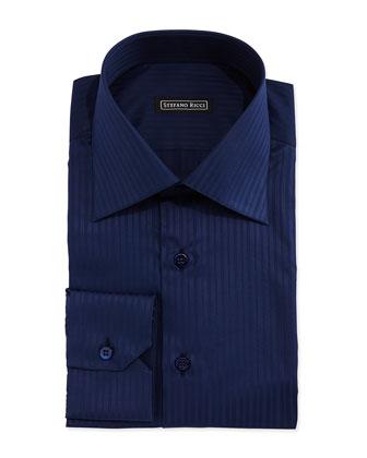 Tonal-Stripe Woven Dress Shirt, Dark Blue