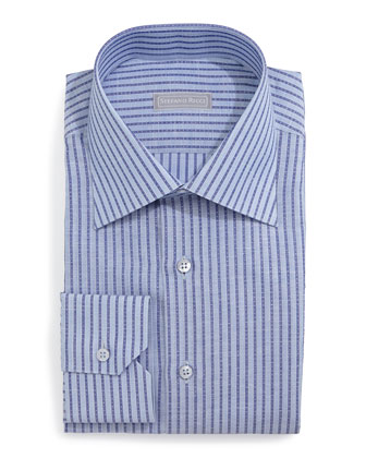 Striped Woven Dress Shirt, Blue
