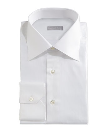 Textured Tonal-Stripe Dress Shirt, White