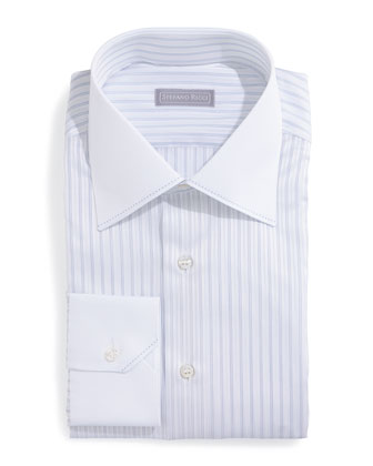 Contrast-Collar Striped Dress Shirt