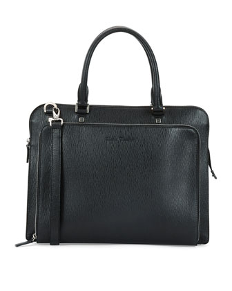 Revival Textured Leather Briefcase, Black