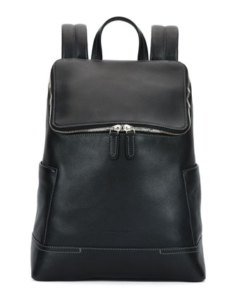 Baires Pebbled Leather Backpack, Black