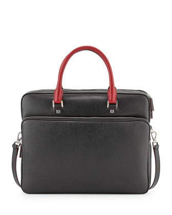 Revival Two-Tone Slim Briefcase, Black/Red
