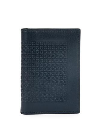 Mini Gancini-Embossed Leather Card Case, Bluink