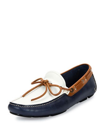 Losanna Tricolor Calfskin Leather Boat Shoe Driver