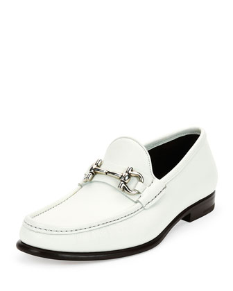 Mason Textured Calfskin Gancini Loafer, White