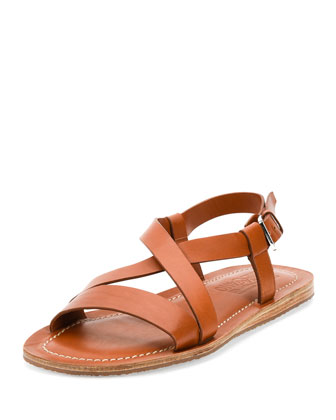 Nostro Crisscross-Strap Calfskin Sandal, Light Brown