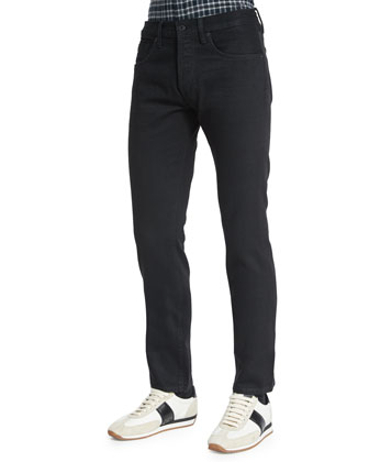 Regular-Fit Resin-Coated Selvedge Jeans, Black