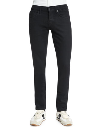 Slim-Fit Stretch-Selvedge Denim Jeans, Black