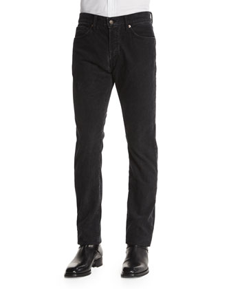 Regular-Fit Washed Pinwale Corduroy Pants, Charcoal