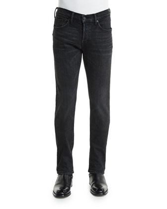 Slim-Fit Black Selvedge Denim Jeans, Black