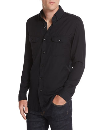 Washed Cotton-Cashmere Sport Shirt & Slim-Fit Saturated Stretch Denim Jeans
