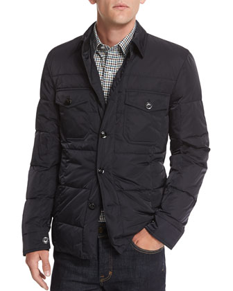 Quilted Down-Fill Shirt Jacket, Navy