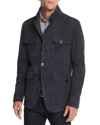 Suede Four-Pocket Military Jacket, Navy