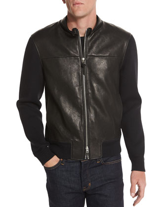 Leather-Front Blouson Jacket with Knit Sleeves, Black