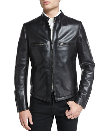 Racer Aged Leather Moto Jacket, Black