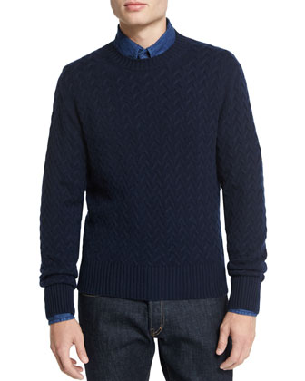 Melange Cable-Knit Crewneck Sweater, Navy