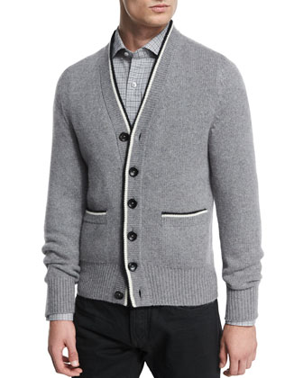 Cashmere Varsity Button-Down Cardigan, Light Gray