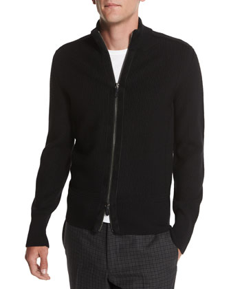 Textured Pique-Stitch Full-Zip Cardigan, Black