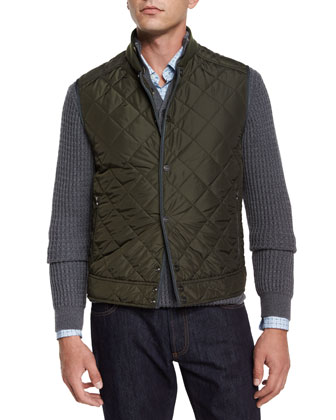 Quilted Button-Down Vest, Mock-Neck Textured Sweater & Small Gancini-Print ...